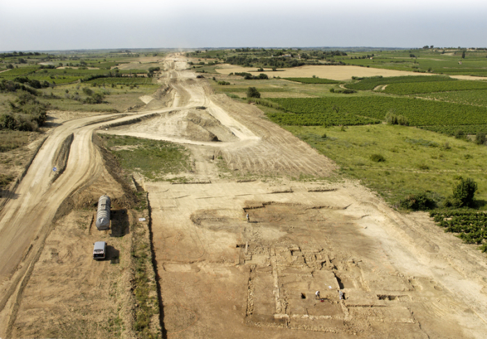 Archaeological excavation of Roman farm at Mont Ferrier site in Tourbes, France. Foto: M.compan, Inrap