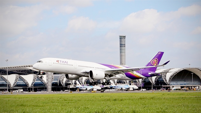 Startende Maschine der THAI am Bangkoker Suvarnabhumi Airport. Foto: The Nation