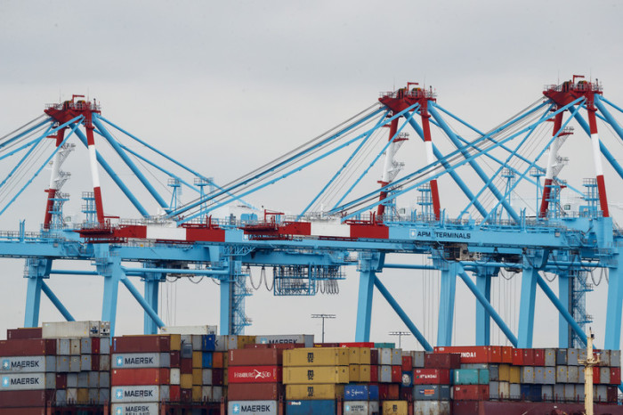 Container-Hafen in New Jersey, USA. Foto: epa/Efe/JUSTIN LANE
