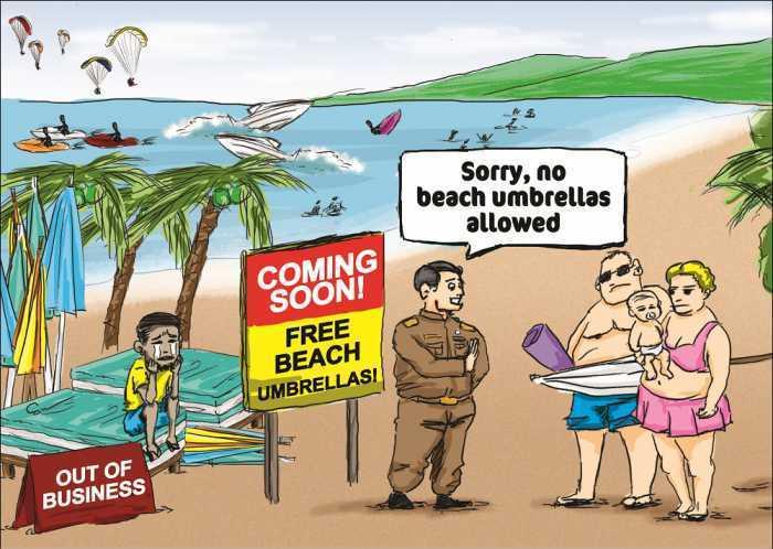 Sonnenschirm strand comic  Eigene Sonnenschirme am Strand verboten, Thailand