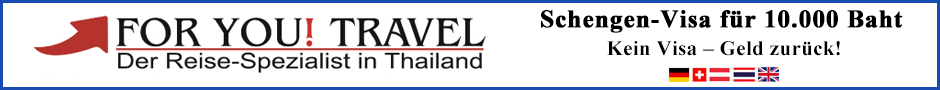Reisebüro und Visa-Service für Schengen-Länder, For You Travel in Pattaya Tel.: 096 713 7877