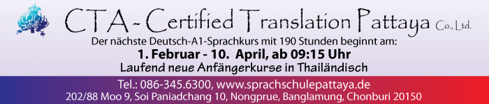CTA-Certified Translation Pattaya Co., Ltd., Deutsch -A1-Sprachkurse mit 190 Stunden.